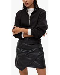 Mango Faux Leather Mini Skirt - Black