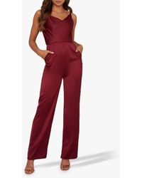 Chi Chi London Thalia Wide Leg Jumpsuit - Red