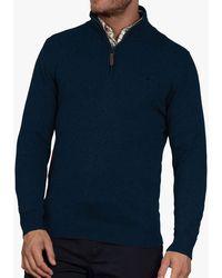 Raging Bull Cotton Cashmere Quarter Zip Neck Jumper - Blue