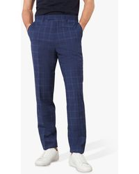 Jaeger Wool Bold Check Slim Fit Suit Trousers - Blue