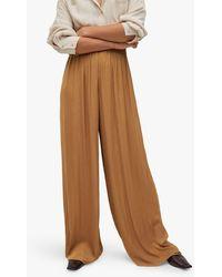 Mango Flowy Wide Leg Palazzo Trousers - Brown