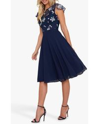 Chi Chi London Novah Floral Embroidered Dress - Blue