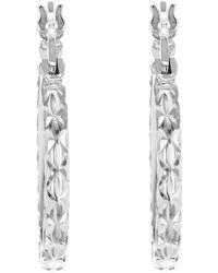 John Lewis - Ibb 9ct White Gold Diamond Cut Creole Hoop Earrings - Lyst