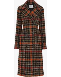 L.K.Bennett Syble Check Double Breasted Coat - Orange