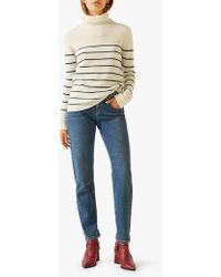 Jigsaw Junko Stripe Cashmere Polo - White