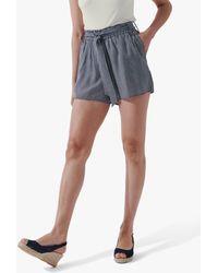 Crew Gingham Tie Waist Shorts - Blue