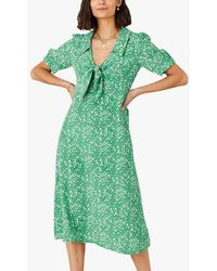 Monsoon Leila Abstract Midi Dress - Green