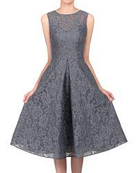 Jolie Moi Bonded Lace Prom Dress - Grey
