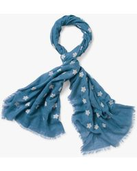 White Stuff Embroidered Star Scarf - Blue