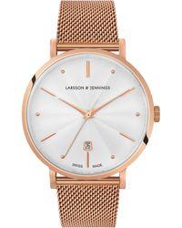 Larsson & Jennings - Lgn38a-cmrg-csg-q-p-rgw-o Unisex Aurora Date Milanese Bracelet Strap Watch - Lyst
