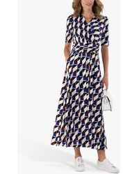 Jolie Moi Crossover Front Geometric Print Maxi Dress - Blue