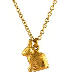 John Lewis - Alex Monroe 22ct Gold Plated Sterling Silver Sitting Bunny Pendant Necklace - Lyst