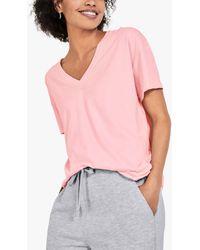 Hush Cali Organic Cotton V-neck T-shirt - Pink