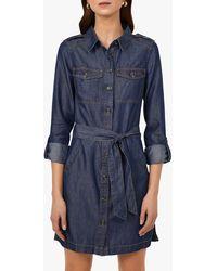 Warehouse Long Sleeved Belted Utility Shirt Dress - Blue