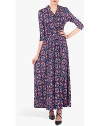 Jolie Moi Retro Print Tie Neck Maxi Dress - Purple
