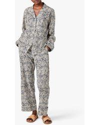 Jigsaw Leopard Print Pyjama Set - Blue
