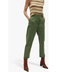 Mango Cotton Blend Pleated Trousers - Green