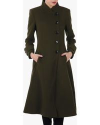 Jolie Moi Button Front Flared Coat - Green