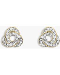 Ib&b 9ct Yellow Gold Crystalique Knot Stud Earrings - Metallic