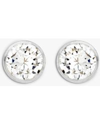 Ib&b 9ct White Gold Round Cubic Zirconia Stud Earrings - Metallic