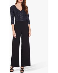 Adrianna Papell Sequin Knit Crepe Jumpsuit - Blue