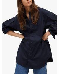 Mango Oversized Poplin Shirt - Blue