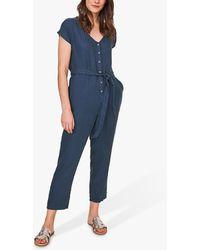White Stuff Kochi Linen Jumpsuit - Blue
