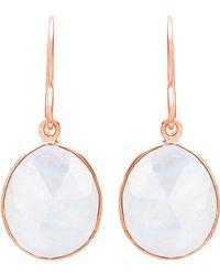 Auren | 18ct Rose Gold Vermeil Single Drop Moonstone Earrings | Lyst