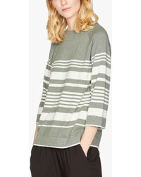 Thought Striped Organic Cotton And Wool Jumper - Green