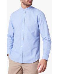Jaeger Cotton Linen Collarless Shirt - Blue
