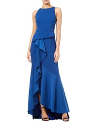 Adrianna Papell - Crepe Knit Cascade Hem Gown - Lyst