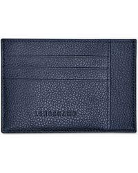 Longchamp Le Foulonné Leather Card Holder - Blue