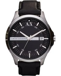 Armani Exchange - Ax Smart Leather Strap 3 Hand And Date Watch - Lyst