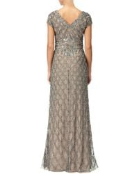 Adrianna Papell - Cap Sleeve Embellished Gown - Lyst