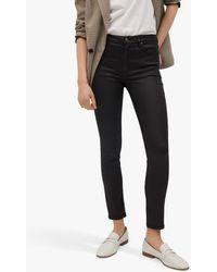 Mango Isa Coated Crop Skinny Jeans - Black