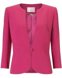 Jacques Vert Button Crepe Jacket - Pink