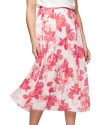 Jacques Vert Hibiscus Print Midi Skirt - Pink