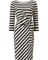 Jacques Vert Tie Detail Stripe Dress - Black