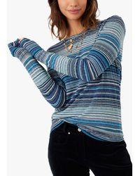 Brora Fine Stripe Long Sleeve T-shirt - Blue