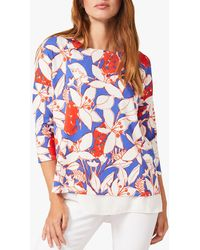Phase Eight Mera Floral Print Top - Blue