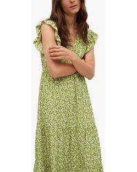 Mango Ruffled Short Sleeve Floral Print Dress - Green