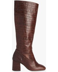 Whistles Hazel Croc Knee High Boot - Brown