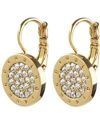 Dyrberg/Kern - Avelon Swarovski Crystal Round French Hook Logo Drop Earrings - Lyst
