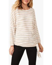 Phase Eight Shaughna Long Sleeved Ripple Stripe Top - Natural
