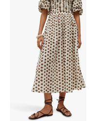 Mango Cotton Spotted Midi Skirt - White
