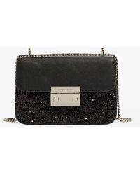Karen Millen Glitter Shoulder Bag - Black