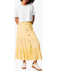 French Connection Easha Button Maxi Skirt - Yellow
