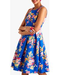 Yumi' Floral Print Piping Detail Jacquard Dress - Blue