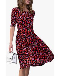 Jolie Moi Floral Print Ruched Sleeve Maxi Dress - Red
