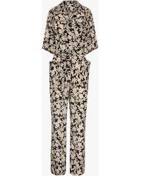 Gerard Darel Maella Floral Print Belted Jumpsuit - Black